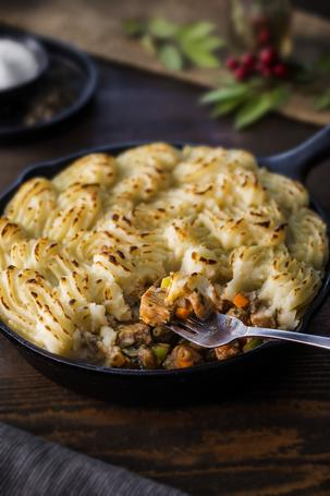 Our chefs have worked their magic to create the perfect Thanksgiving leftover recipe. The Shepherd's Pie.